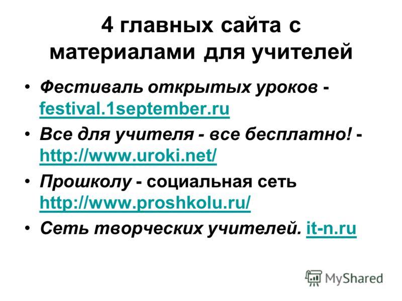 4 главных сайта с материалами для учителей Фестиваль открытых уроков - festival.1september.ru festival.1september.ru Все для учителя - все бесплатно! - http://www.uroki.net/ http://www.uroki.net/ Прошколу - социальная сеть http://www.proshkolu.ru/ ht