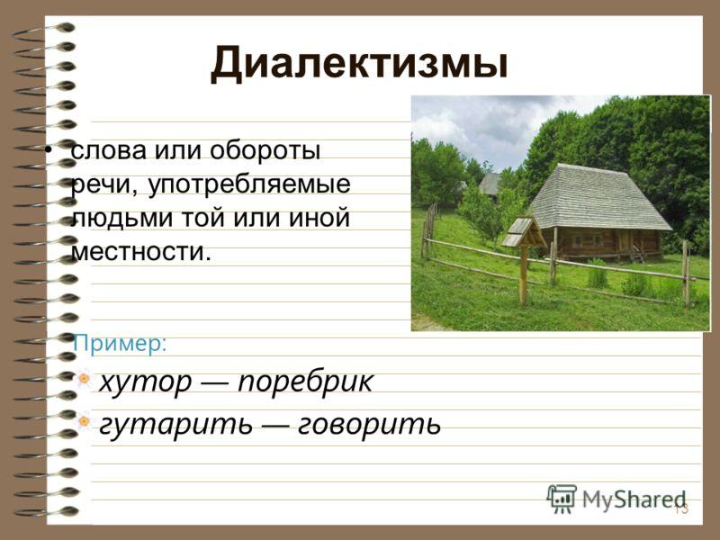 Диалектизмы слова или обороты речи, употребляемые людьми той или иной местности. 13 Пример: хутор поребрик гутарить говорить