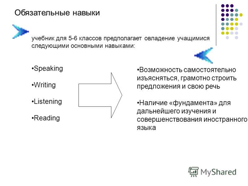 Обязательные навыки учебник для 5-6 классов предполагает овладение учащимися следующими основными навыками: Speaking Writing Listening Reading Возможность самостоятельно изъясняться, грамотно строить предложения и свою речь Наличие «фундамента» для д