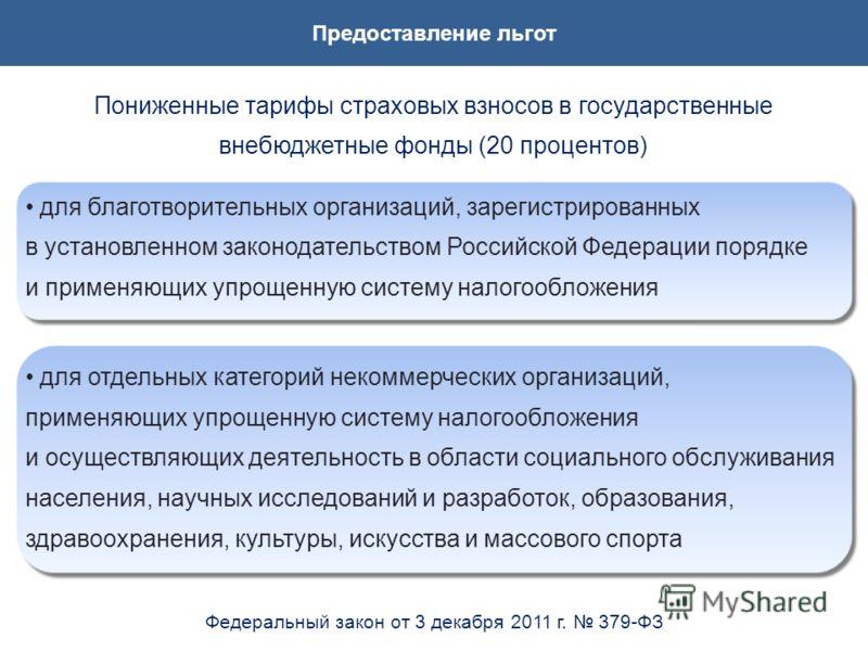 Предоставление льгот Пониженные тарифы страховых взносов в государственные внебюджетные фонды (20 процентов) для благотворительных организаций, зарегистрированных в установленном законодательством Российской Федерации порядке и применяющих упрощенную