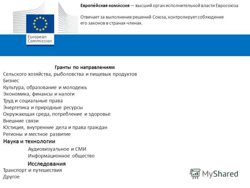 Европе́йская коми́ссия высший орган исполнительной власти Евросоюза Отвечает за выполнение решений Союза, контролирует соблюдение его законов в странах-членах. Гранты по направлениям Сельского хозяйства, рыболовства и пищевых продуктов Бизнес Культур