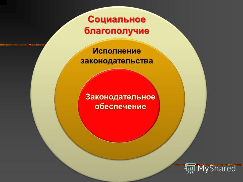 Законодательное обеспечение Исполнение законодательства Социальное благополучие