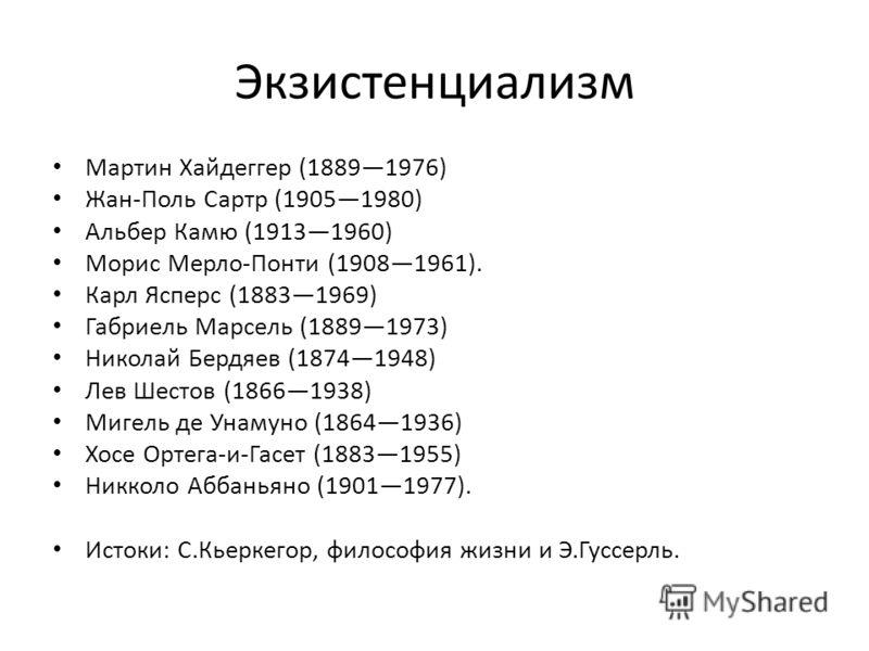 Экзистенциализм Мартин Хайдеггер (18891976) Жан-Поль Сартр (19051980) Альбер Камю (19131960) Морис Мерло-Понти (19081961). Карл Ясперс (18831969) Габриель Марсель (18891973) Николай Бердяев (18741948) Лев Шестов (18661938) Мигель де Унамуно (18641936