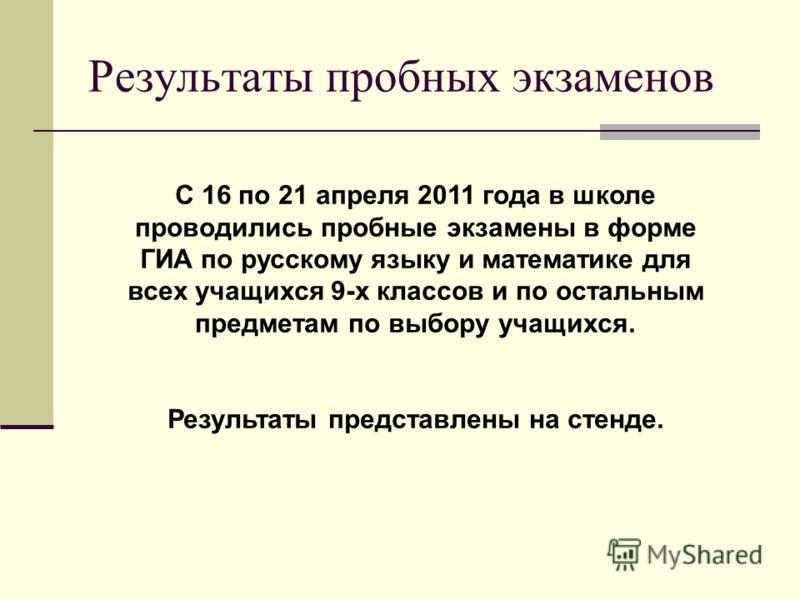 Результаты пробных экзаменов С 16 по 21 апреля 2011 года в школе проводились пробные экзамены в форме ГИА по русскому языку и математике для всех учащихся 9-х классов и по остальным предметам по выбору учащихся. Результаты представлены на стенде.