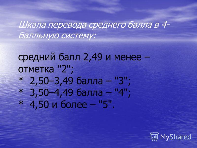 Шкала перевода среднего балла в 4 балльную систему: средний балл 2,49 и менее – отметка 2; * 2,50–3,49 балла – 3; * 3,50–4,49 балла – 4; * 4,50 и более – 5.