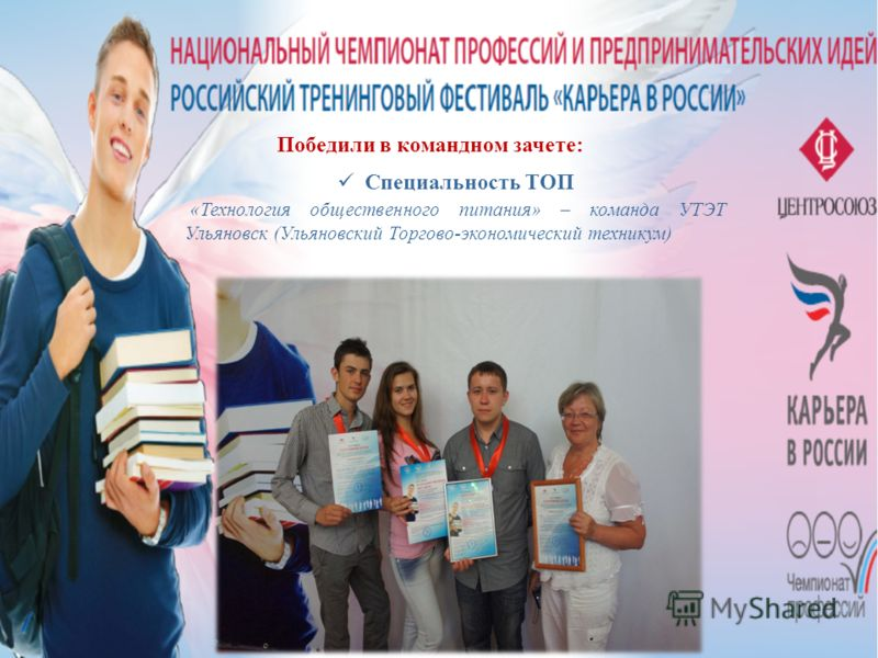 Победили в командном зачете: Специальность ТОП «Технология общественного питания» – команда УТЭТ Ульяновск (Ульяновский Торгово-экономический техникум)
