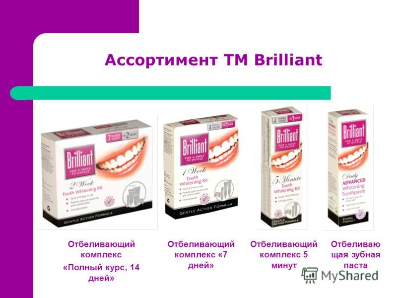 Ассортимент ТМ Brilliant Отбеливающий комплекс «Полный курс, 14 дней» Отбеливающий комплекс «7 дней» Отбеливающий комплекс 5 минут Отбеливаю щая зубная паста