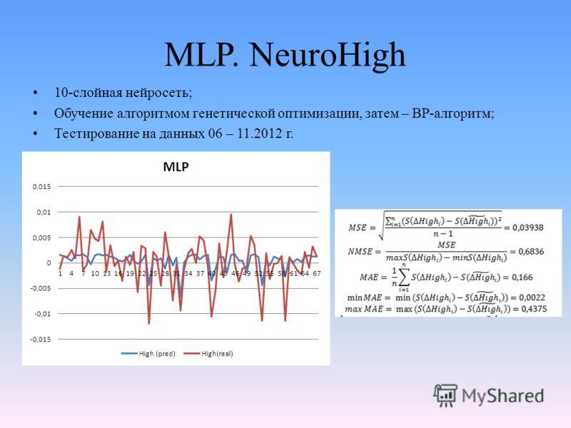 MLP. NeuroHigh 10-слойная нейросеть; Обучение алгоритмом генетической оптимизации, затем – BP-алгоритм; Тестирование на данных 06 – 11.2012 г.