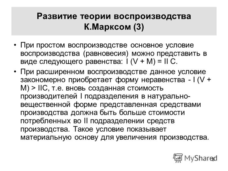 воспроизводства К.Марксом