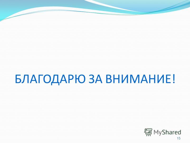 БЛАГОДАРЮ ЗА ВНИМАНИЕ! 15