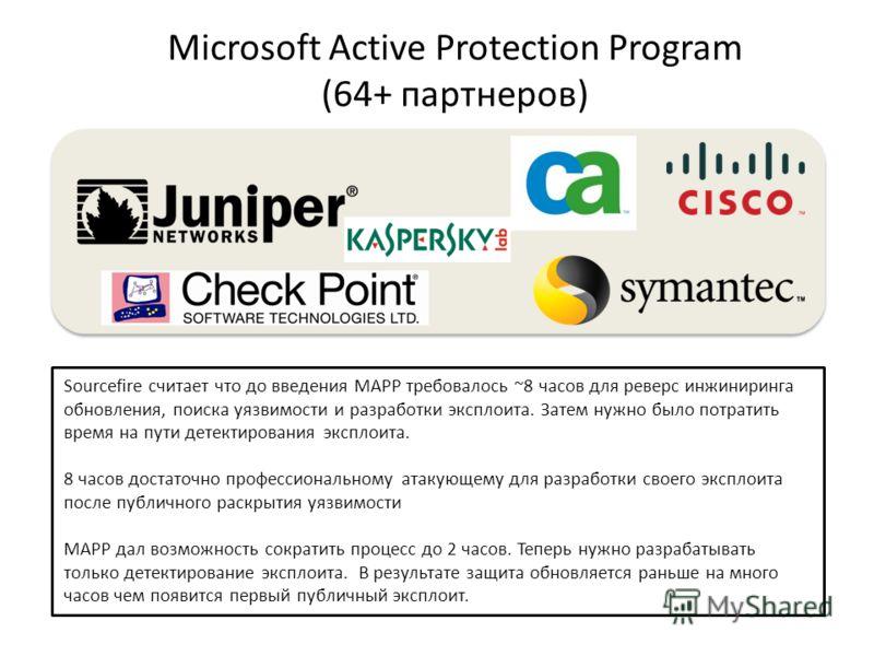 Microsoft Active Protection Program (64+ партнеров) Sourcefire считает что до введения MAPP требовалось ~8 часов для реверс инжиниринга обновления, поиска уязвимости и разработки эксплоита. Затем нужно было потратить время на пути детектирования эксп