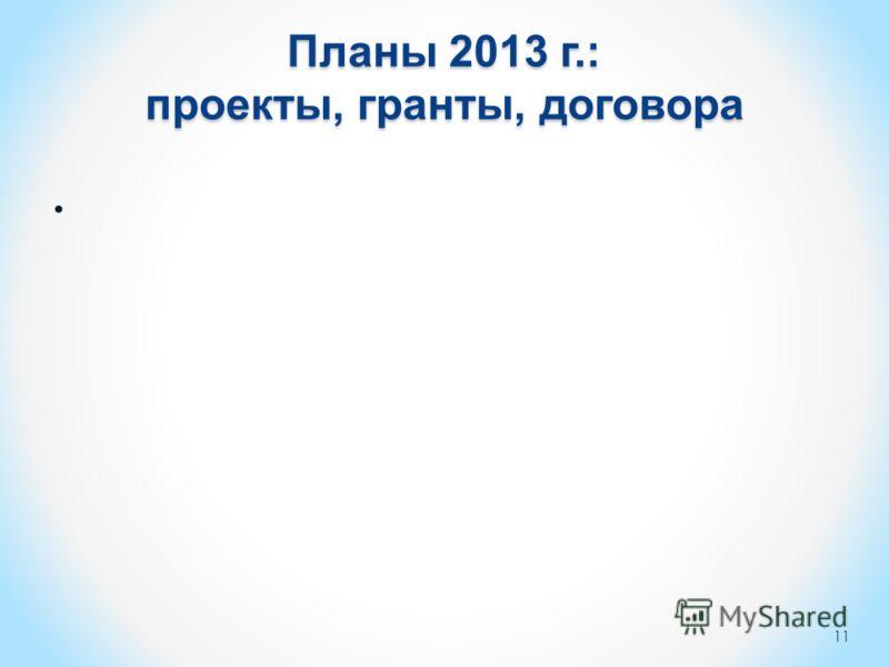 Планы 2013 г.: проекты, гранты, договора 11