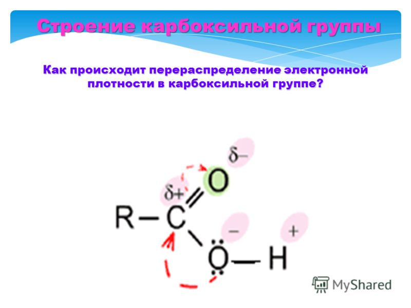 Строение карбоксильной группы Как происходит перераспределение электронной плотности в карбоксильной группе?