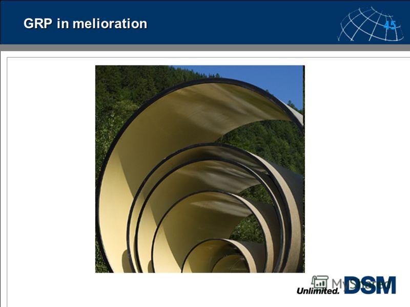 44 Melioration В сельском хозяйстве используется до 7% производимых в мире стеклопластиковых труб. Основное назначение стеклопластиковых труб в данной области – транспортировка воды. Наиболее ходовые диаметры стеклопластиковых труб, применяемых в сел