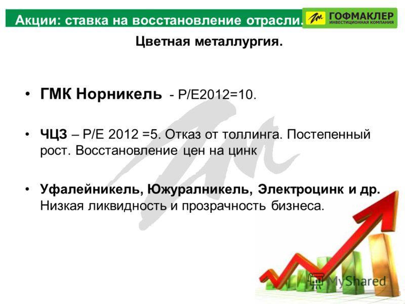 Акции: ставка на восстановление отрасли. ГМК Норникель - Р/Е2012=10. ЧЦЗ – Р/Е 2012 =5. Отказ от толлинга. Постепенный рост. Восстановление цен на цинк Уфалейникель, Южуралникель, Электроцинк и др. Низкая ликвидность и прозрачность бизнеса. Цветная м