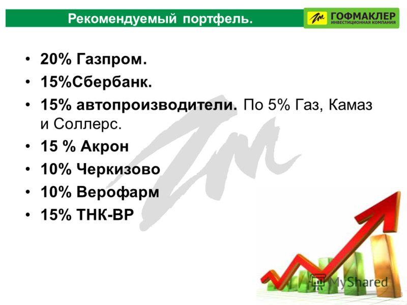 Рекомендуемый портфель. 20% Газпром. 15%Сбербанк. 15% автопроизводители. По 5% Газ, Камаз и Соллерс. 15 % Акрон 10% Черкизово 10% Верофарм 15% ТНК-ВР
