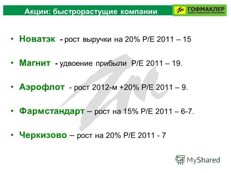 Акции: быстрорастущие компании Новатэк - рост выручки на 20% P/E 2011 – 15 Магнит - удвоение прибыли P/Е 2011 – 19. Аэрофлот - рост 2012-м +20% P/Е 2011 – 9. Фармстандарт – рост на 15% Р/Е 2011 – 6-7. Черкизово – рост на 20% Р/Е 2011 - 7