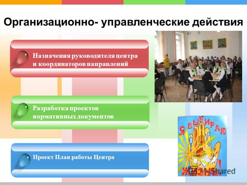Организационно- управленческие действия Назначения руководителя центра и координаторов направлений Разработка проектов нормативных документов Проект План работы Центра
