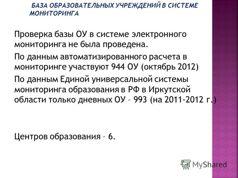 Проверка базы ОУ в системе электронного мониторинга не была проведена. По данным автоматизированного расчета в мониторинге участвуют 944 ОУ (октябрь 2012) По данным Единой универсальной системы мониторинга образования в РФ в Иркутской области только