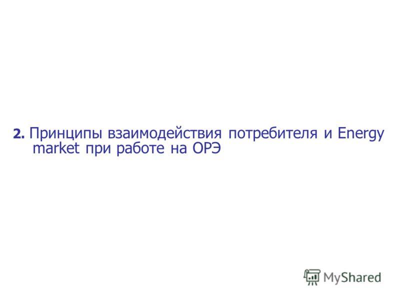 2. Принципы взаимодействия потребителя и Energy market при работе на ОРЭ