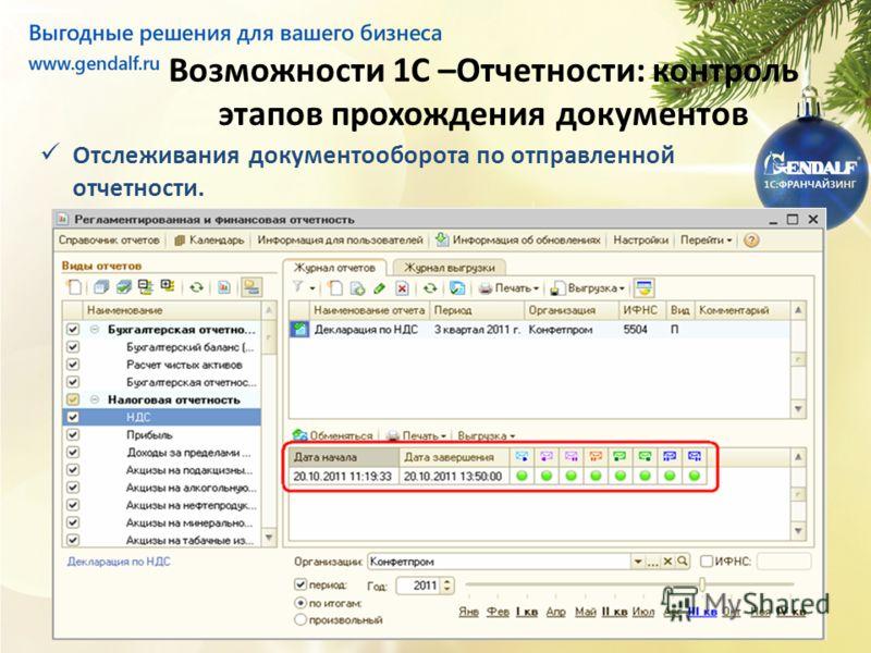 Возможности 1С –Отчетности: контроль этапов прохождения документов Отслеживания документооборота по отправленной отчетности.