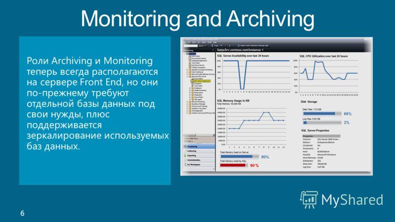 Monitoring and Archiving 6 Роли Archiving и Monitoring теперь всегда располагаются на сервере Front End, но они по-прежнему требуют отдельной базы данных под свои нужды, плюс поддерживается зеркалирование используемых баз данных.