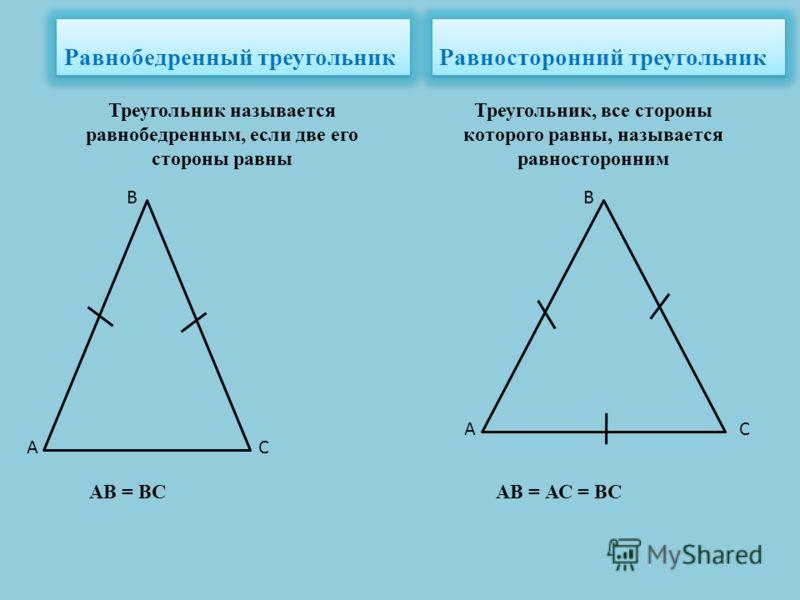 Равнобедренный треугольник Равносторонний треугольник Треугольник называется равнобедренным, если две его стороны равны Треугольник, все стороны которого равны, называется равносторонним АВ = ВС А В С А В С АВ = АС = ВС