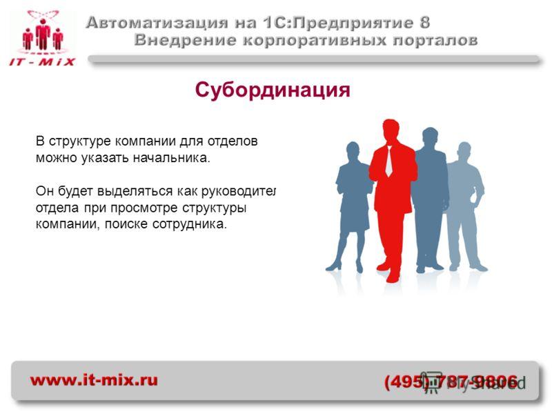 Субординация В структуре компании для отделов можно указать начальника. Он будет выделяться как руководитель отдела при просмотре структуры компании, поиске сотрудника.