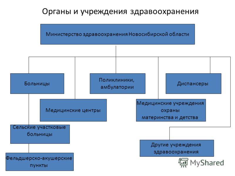 Органы и учреждения здравоохранения Министерство здравоохранения Новосибирской области Больницы Медицинские центры Медицинские учреждения охраны материнства и детства Диспансеры Поликлиники, амбулатории Сельские участковые больницы Фельдшерско-акушер