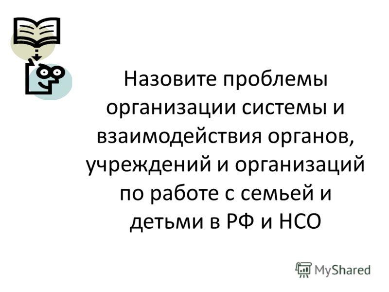 Назовите проблемы организации системы и взаимодействия органов, учреждений и организаций по работе с семьей и детьми в РФ и НСО