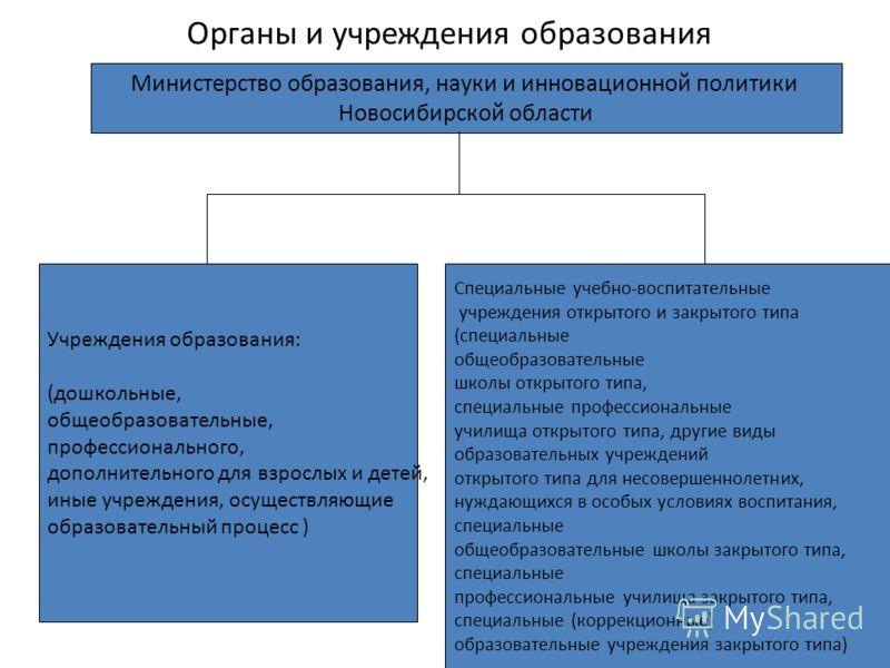Органы и учреждения образования Министерство образования, науки и инновационной политики Новосибирской области Учреждения образования: (дошкольные, общеобразовательные, профессионального, дополнительного для взрослых и детей, иные учреждения, осущест