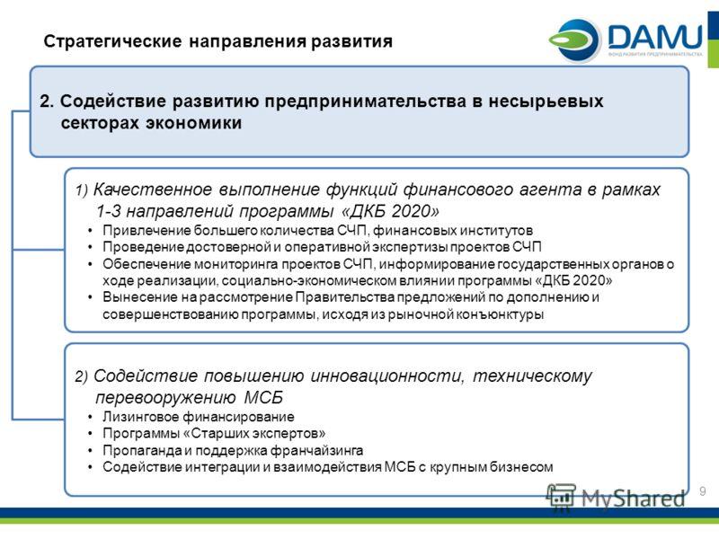 9 Стратегические направления развития 2. Содействие развитию предпринимательства в несырьевых секторах экономики 1) Качественное выполнение функций финансового агента в рамках 1-3 направлений программы «ДКБ 2020» Привлечение большего количества СЧП,