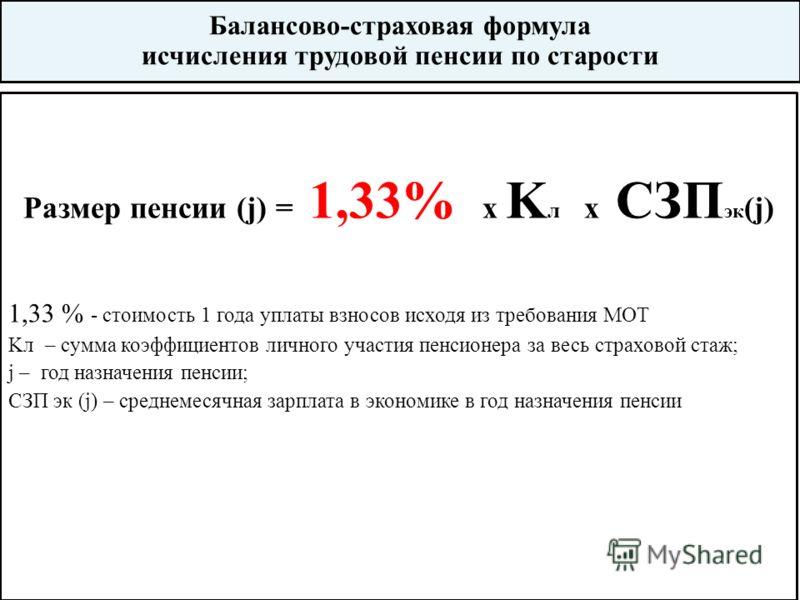 Балансово-страховая формула исчисления трудовой пенсии по старости Размер пенсии (j) = 1,33% х K л x CЗП эк (j) 1,33 % - стоимость 1 года уплаты взносов исходя из требования МОТ Kл – сумма коэффициентов личного участия пенсионера за весь страховой ст
