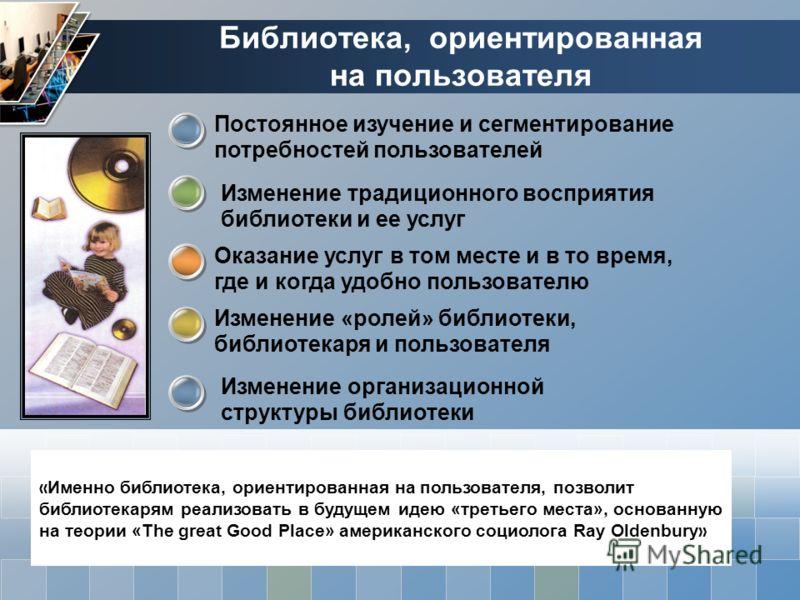 Библиотека, ориентированная на пользователя « Именно библиотека, ориентированная на пользователя, позволит библиотекарям реализовать в будущем идею «третьего места», основанную на теории «The great Good Place» американского социолога Ray Oldenbury »