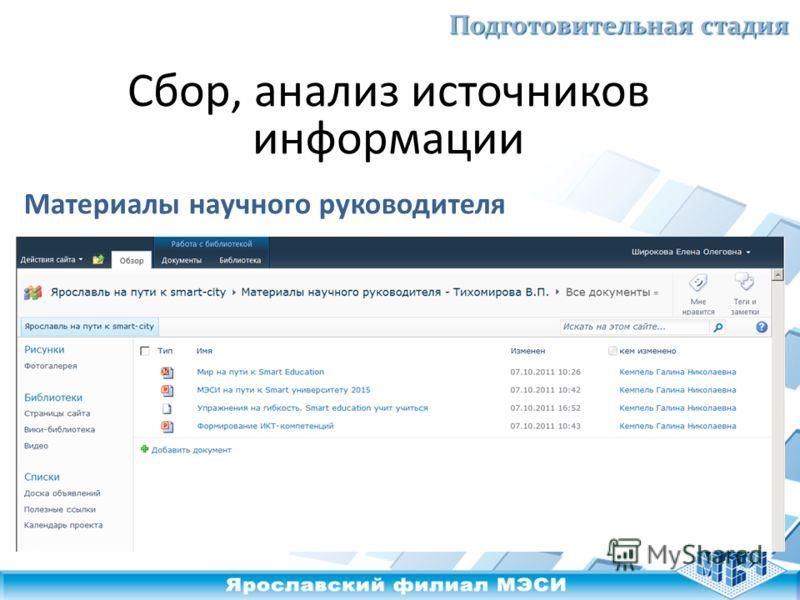 Подготовительная стадия Сбор, анализ источников информации Материалы научного руководителя