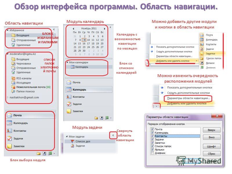 Обзор интерфейса программы. Область навигации. Область навигации Блок выбора модуля Модуль календарь Календарь с возможностью навигации по месяцам Блок со списком календарей Модуль задачи Можно добавить другие модули и кнопки в область навигации Можн