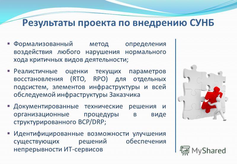 Формализованный метод определения воздействия любого нарушения нормального хода критичных видов деятельности; Реалистичные оценки текущих параметров восстановления (RTO, RPO) для отдельных подсистем, элементов инфраструктуры и всей обследуемой инфрас
