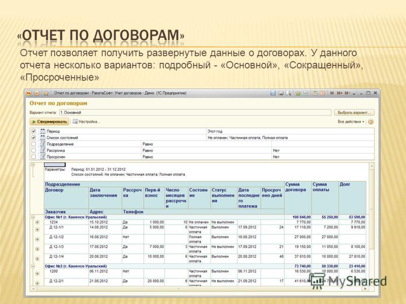 Отчет позволяет получить развернутые данные о договорах. У данного отчета несколько вариантов: подробный - «Основной», «Сокращенный», «Просроченные»