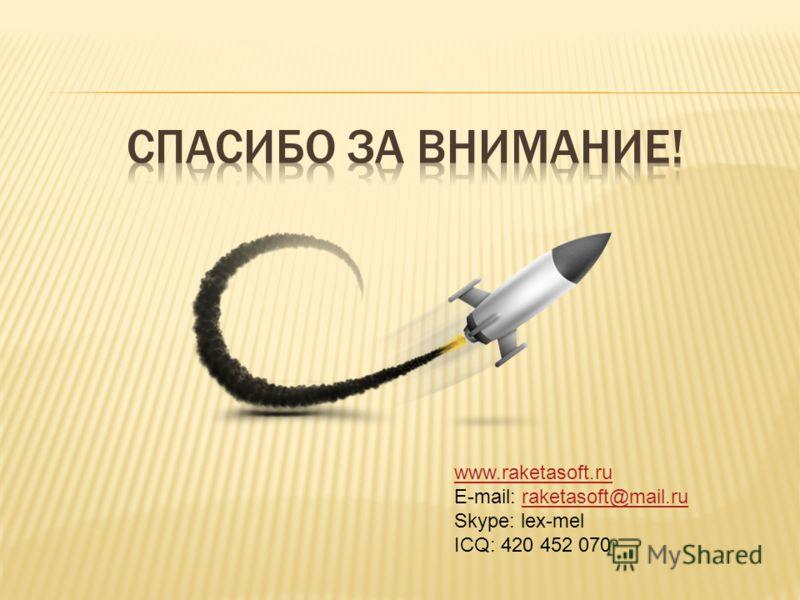 www.raketasoft.ru E-mail: raketasoft@mail.ruraketasoft@mail.ru Skype: lex-mel ICQ: 420 452 070