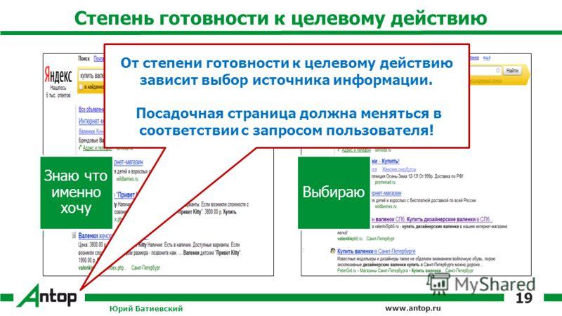 www.antop.ru Степень готовности к целевому действию Знаю что именно хочу Выбираю Юрий Батиевский 19 От степени готовности к целевому действию зависит выбор источника информации. Посадочная страница должна меняться в соответствии с запросом пользовате