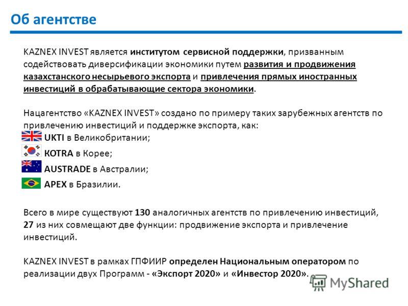 2 Об агентстве KAZNEX INVEST является институтом сервисной поддержки, призванным содействовать диверсификации экономики путем развития и продвижения казахстанского несырьевого экспорта и привлечения прямых иностранных инвестиций в обрабатывающие сект