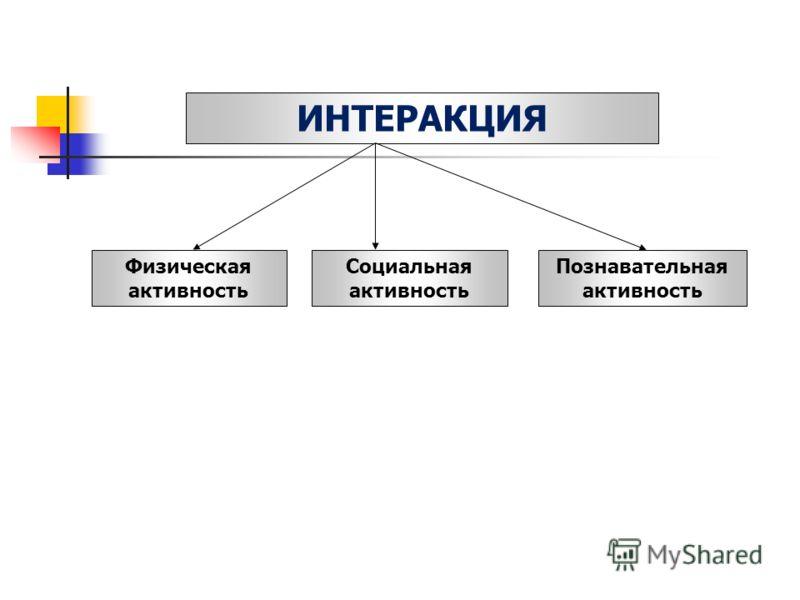 ИНТЕРАКЦИЯ Физическая активность Социальная активность Познавательная активность