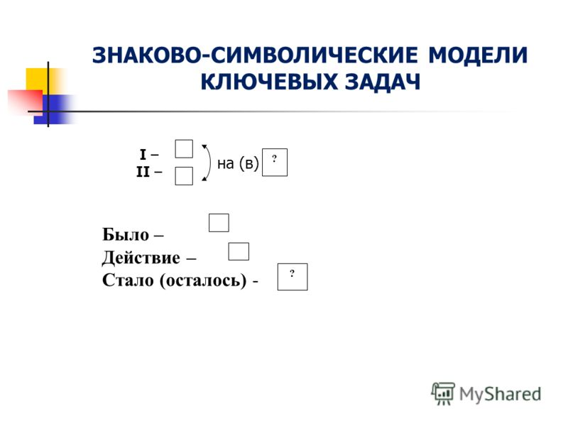 ЗНАКОВО-СИМВОЛИЧЕСКИЕ МОДЕЛИ КЛЮЧЕВЫХ ЗАДАЧ ? ? на (в) I – II – Было – Действие – Стало (осталось) -