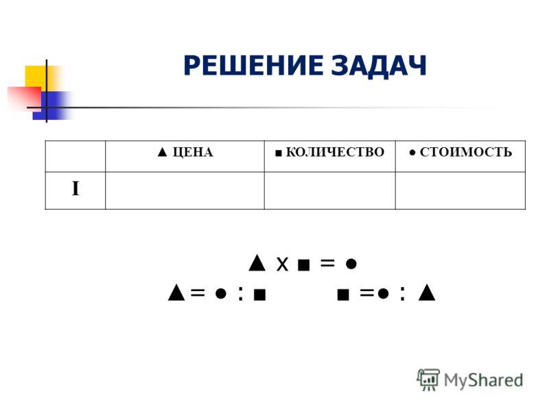 РЕШЕНИЕ ЗАДАЧ ЦЕНА КОЛИЧЕСТВО СТОИМОСТЬ I х = = : = :