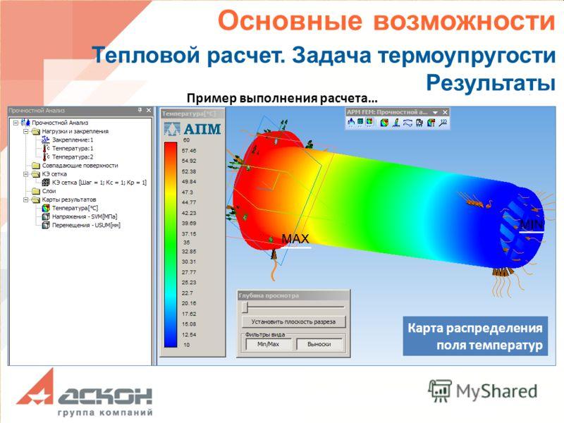 Основные возможности Тепловой расчет. Задача термоупругости Результаты Пример выполнения расчета… Карта распределения поля температур