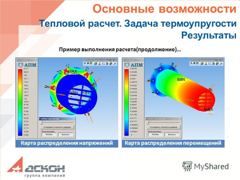 Карта распределения перемещений Основные возможности Тепловой расчет. Задача термоупругости Результаты Пример выполнения расчета(продолжение)… Карта распределения напряжений