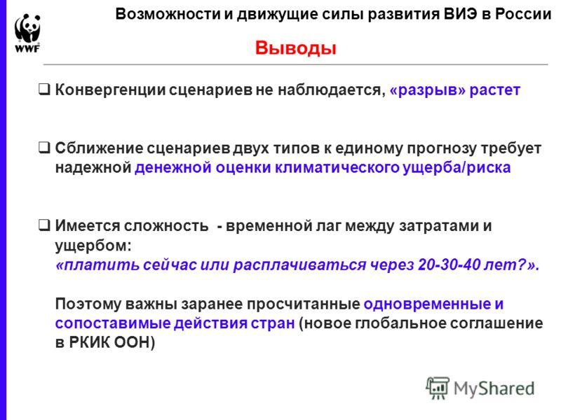 23 February 2013 - 10 Выводы Возможности и движущие силы развития ВИЭ в России Конвергенции сценариев не наблюдается, «разрыв» растет Сближение сценариев двух типов к единому прогнозу требует надежной денежной оценки климатического ущерба/риска Имеет