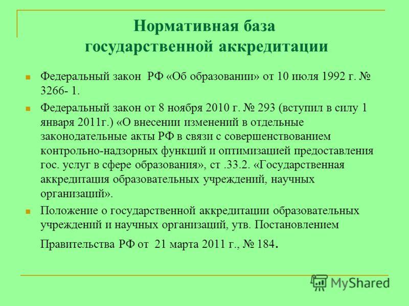Нормативная база государственной аккредитации Федеральный закон РФ «Об образовании» от 10 июля 1992 г. 3266- 1. Федеральный закон от 8 ноября 2010 г. 293 (вступил в силу 1 января 2011г.) «О внесении изменений в отдельные законодательные акты РФ в свя