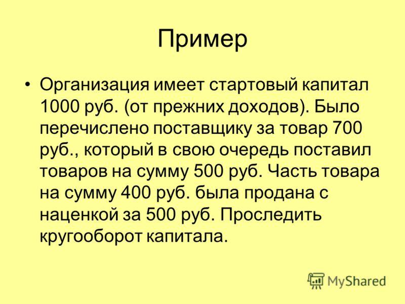 Пример Организация имеет стартовый капитал 1000 руб. (от прежних доходов). Было перечислено поставщику за товар 700 руб., который в свою очередь поставил товаров на сумму 500 руб. Часть товара на сумму 400 руб. была продана с наценкой за 500 руб. Про