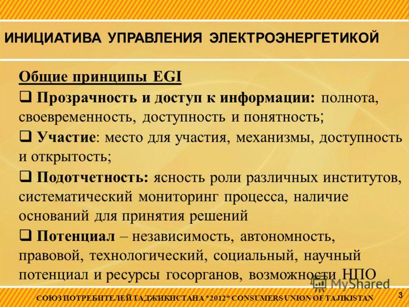 ИНИЦИАТИВА УПРАВЛЕНИЯ ЭЛЕКТРОЭНЕРГЕТИКОЙ СОЮЗ ПОТРЕБИТЕЛЕЙ ТАДЖИКИСТАНА *2012* CONSUMERS UNION OF TAJIKISTAN 3 Общие принципы EGI Прозрачность и доступ к информации: полнота, своевременность, доступность и понятность ; Участие: место для участия, мех